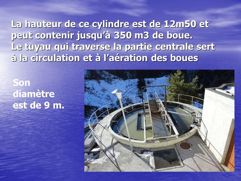 La hauteur de ce cylindre est de 12m50 et peut contenir jusqu'à 350 m3 de boue. Le tuyau qui traverse la partie centrale sert à la circulation et à l'aération des boues