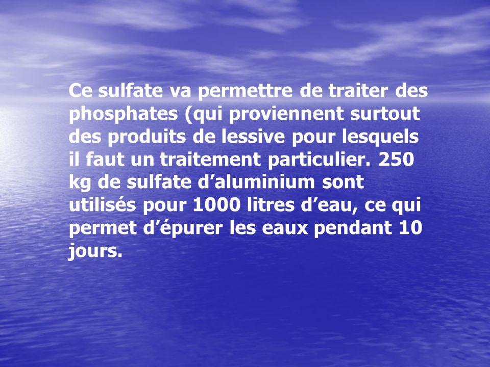 Ce sulfate va permettre de traiter des phosphates (qui proviennent surtout des produits de lessive pour lesquels il faut un traitement particulier.