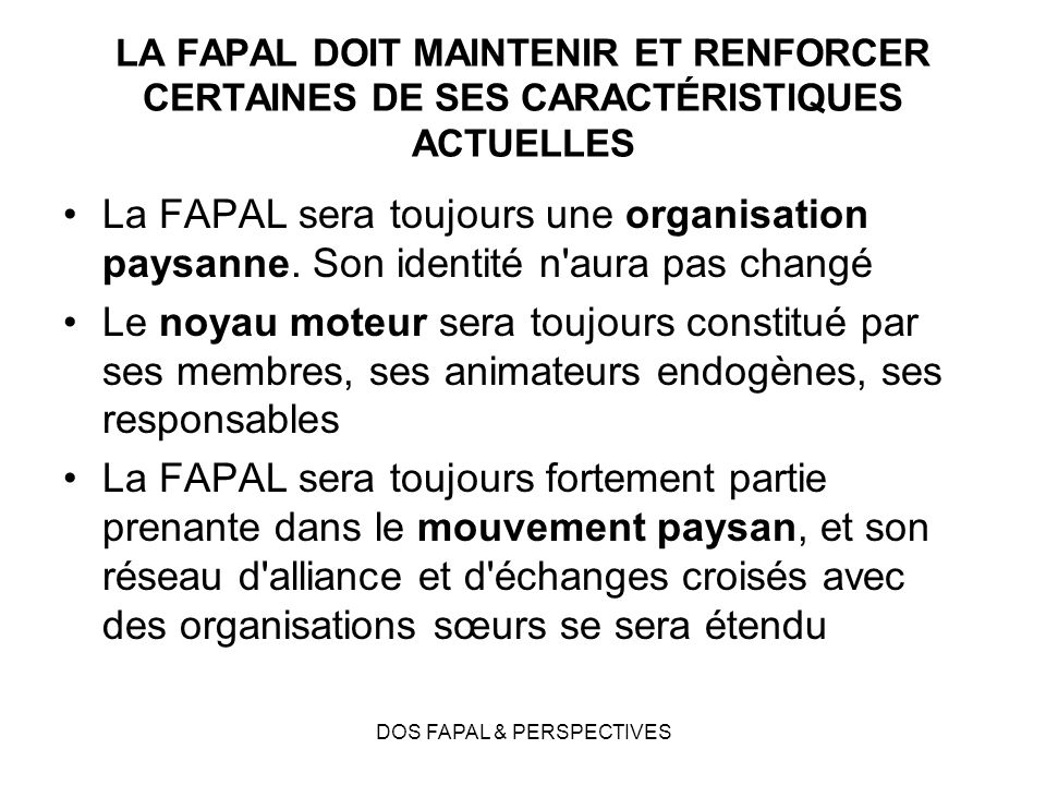 DOS FAPAL & PERSPECTIVES