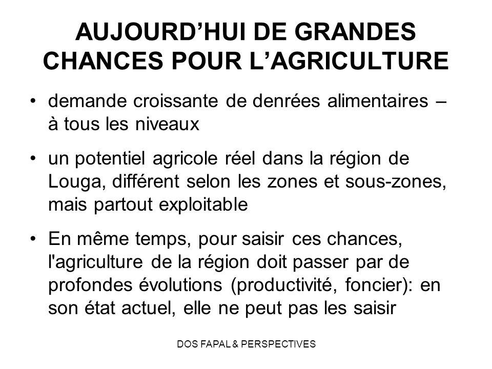 AUJOURD'HUI DE GRANDES CHANCES POUR L'AGRICULTURE