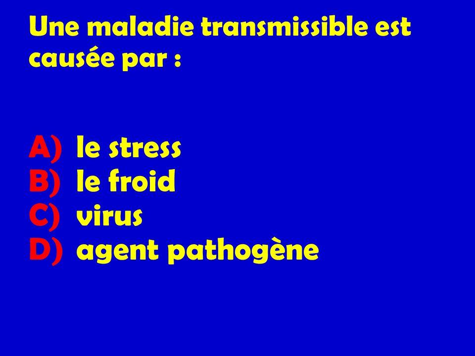 Une maladie transmissible est causée par :