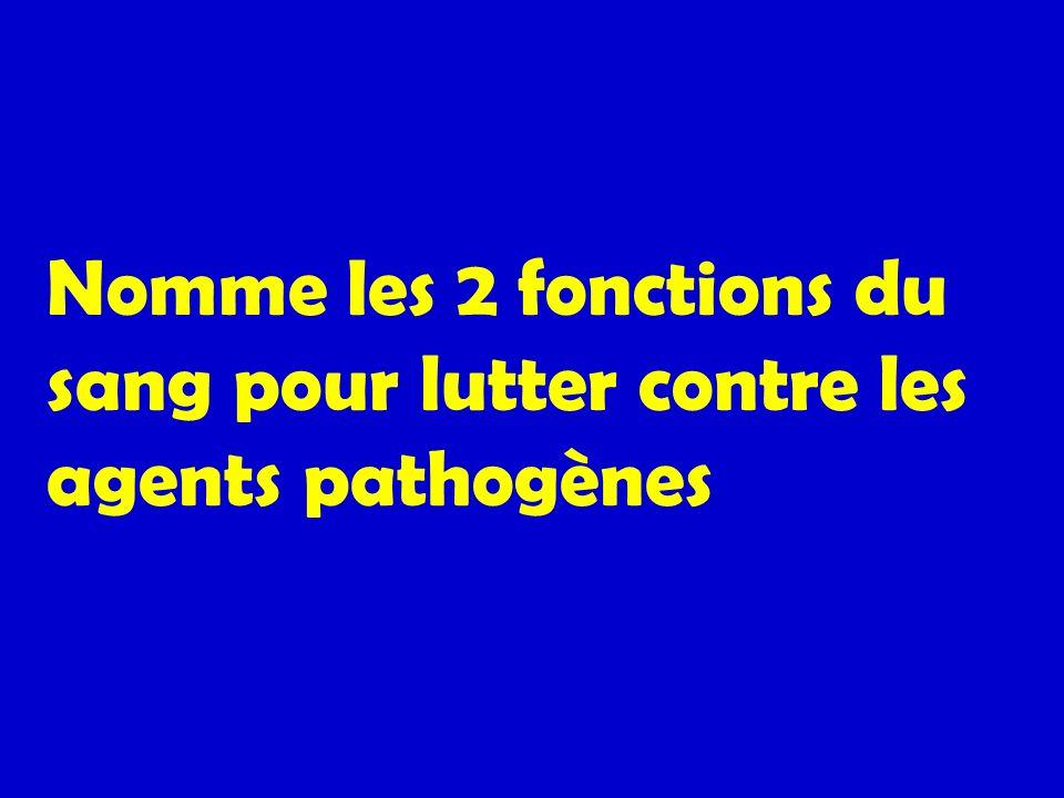 Nomme les 2 fonctions du sang pour lutter contre les agents pathogènes