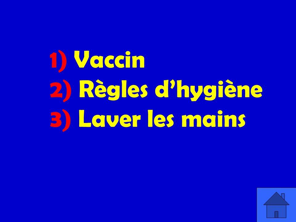 1) Vaccin 2) Règles d'hygiène 3) Laver les mains