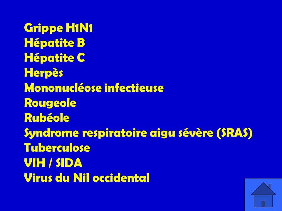 Grippe H1N1 Hépatite B. Hépatite C. Herpès. Mononucléose infectieuse