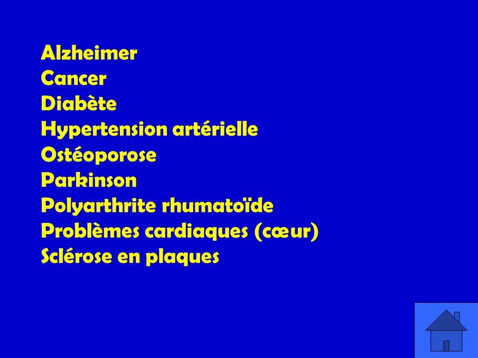 Alzheimer. Cancer. Diabète. Hypertension artérielle. Ostéoporose