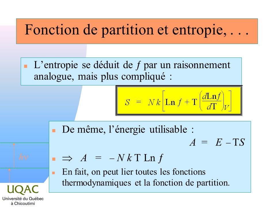 Fonction de partition et entropie, . . .