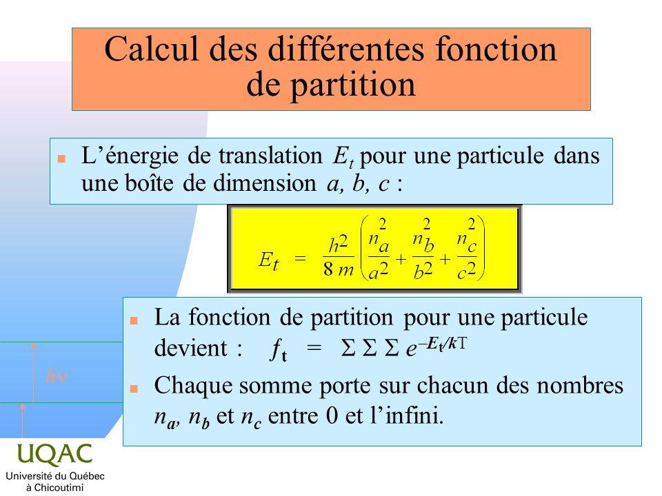 Calcul des différentes fonction de partition