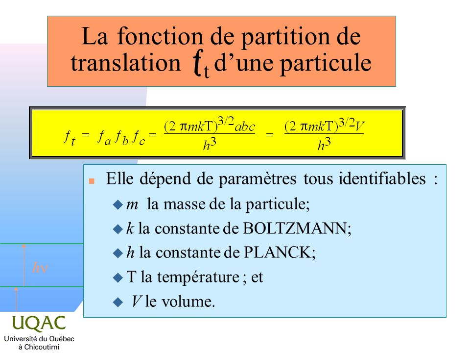 La fonction de partition de translation t d'une particule