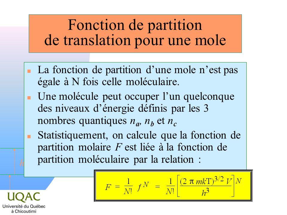 Fonction de partition de translation pour une mole