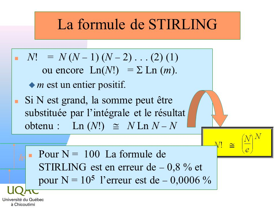 La formule de STIRLING N! = N (N - 1) (N - 2) . . . (2) (1) ou encore Ln(N!) = S Ln (m). m est un entier positif.
