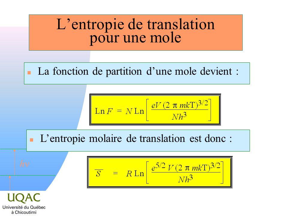 L'entropie de translation pour une mole