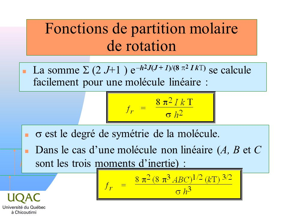 Fonctions de partition molaire de rotation