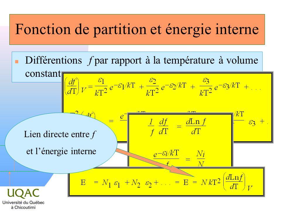 Fonction de partition et énergie interne