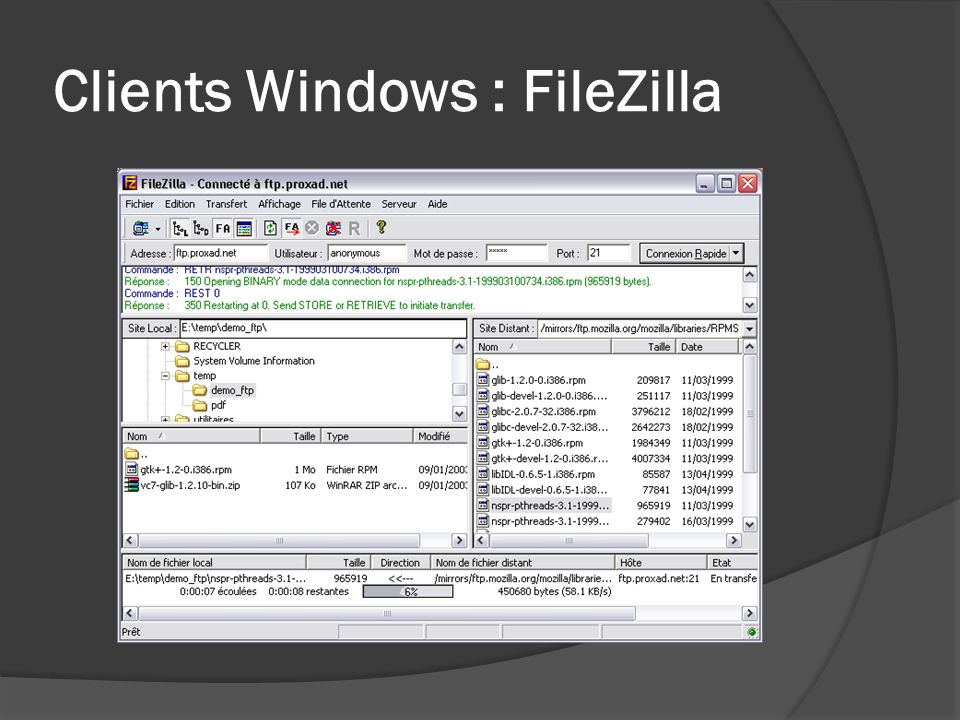 Clients Windows : FileZilla