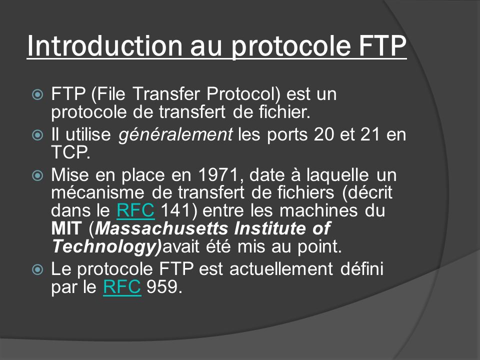 Introduction au protocole FTP