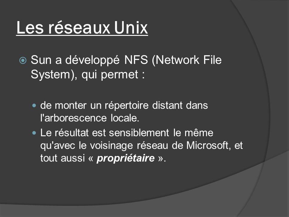 Les réseaux Unix Sun a développé NFS (Network File System), qui permet : de monter un répertoire distant dans l arborescence locale.
