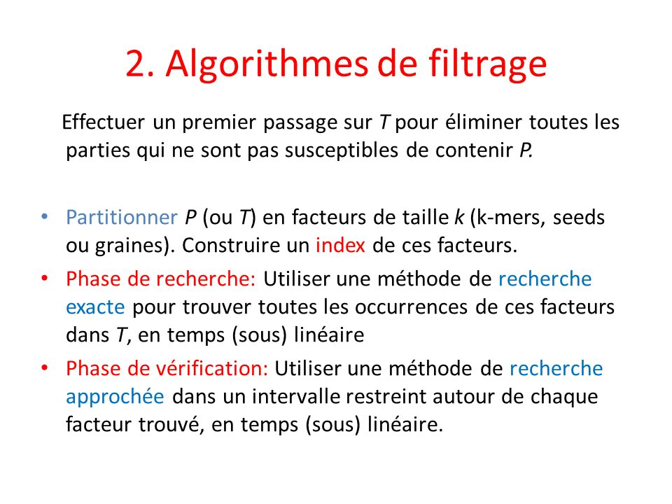 2. Algorithmes de filtrage