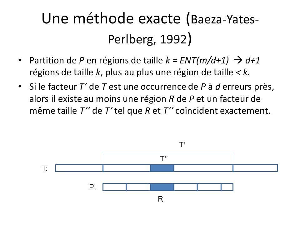 Une méthode exacte (Baeza-Yates-Perlberg, 1992)