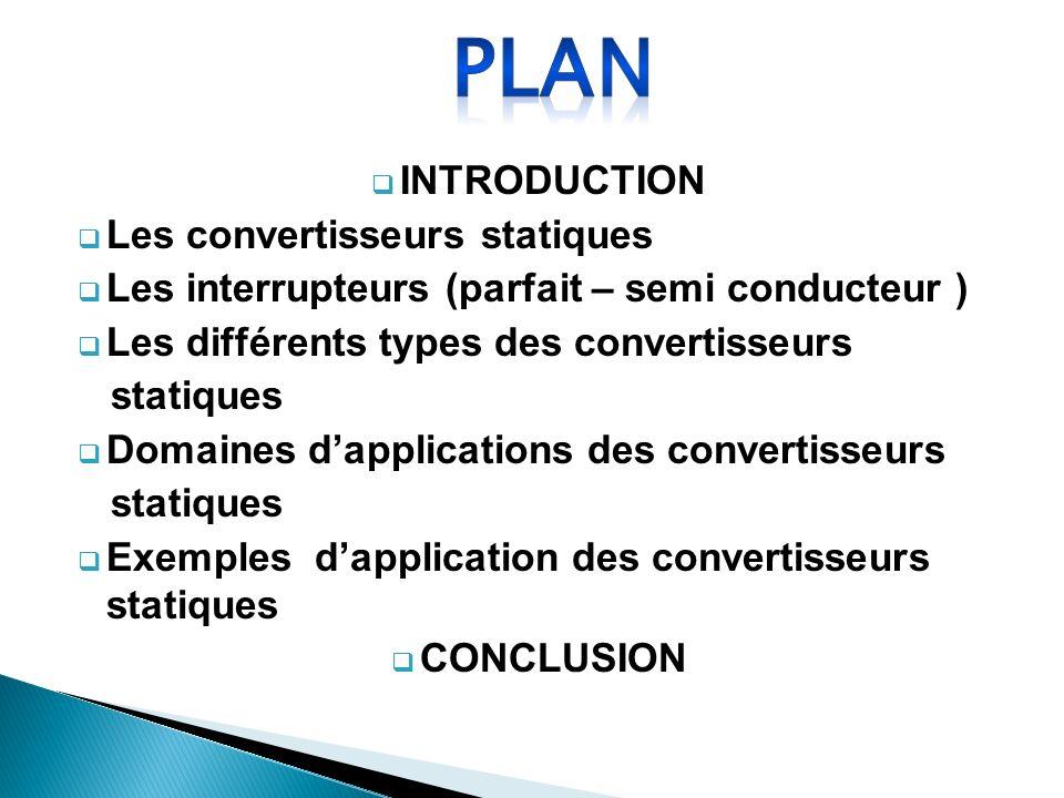 PLAN INTRODUCTION Les convertisseurs statiques