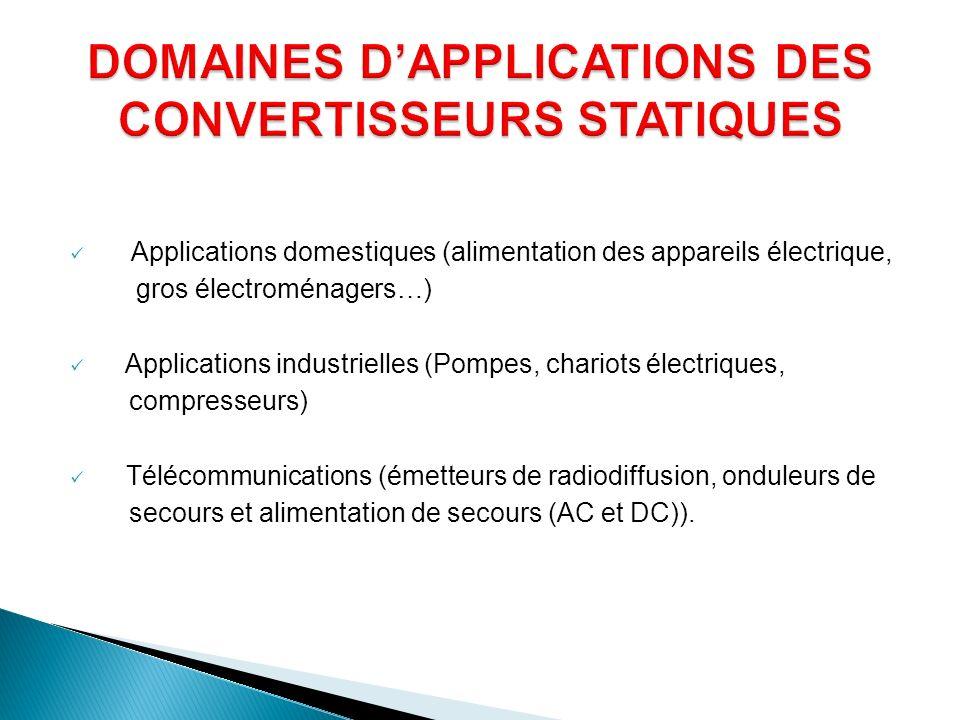 DOMAINES D'APPLICATIONS DES CONVERTISSEURS STATIQUES