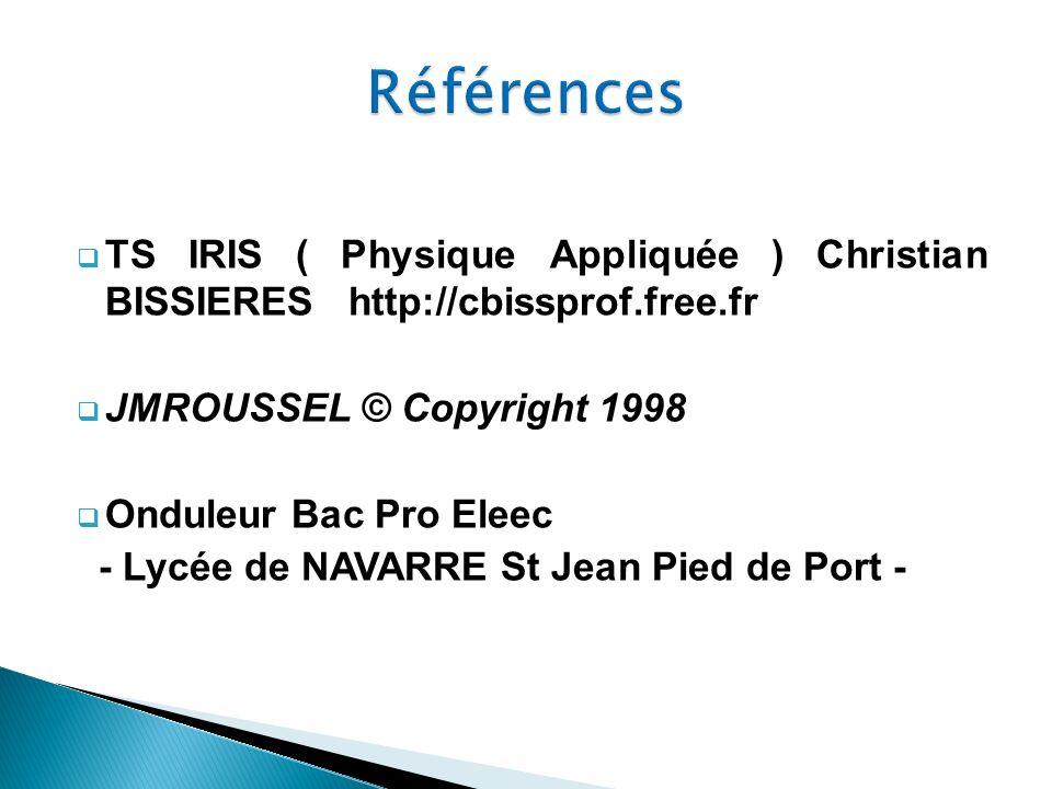 Références TS IRIS ( Physique Appliquée ) Christian BISSIERES http://cbissprof.free.fr. JMROUSSEL © Copyright 1998.