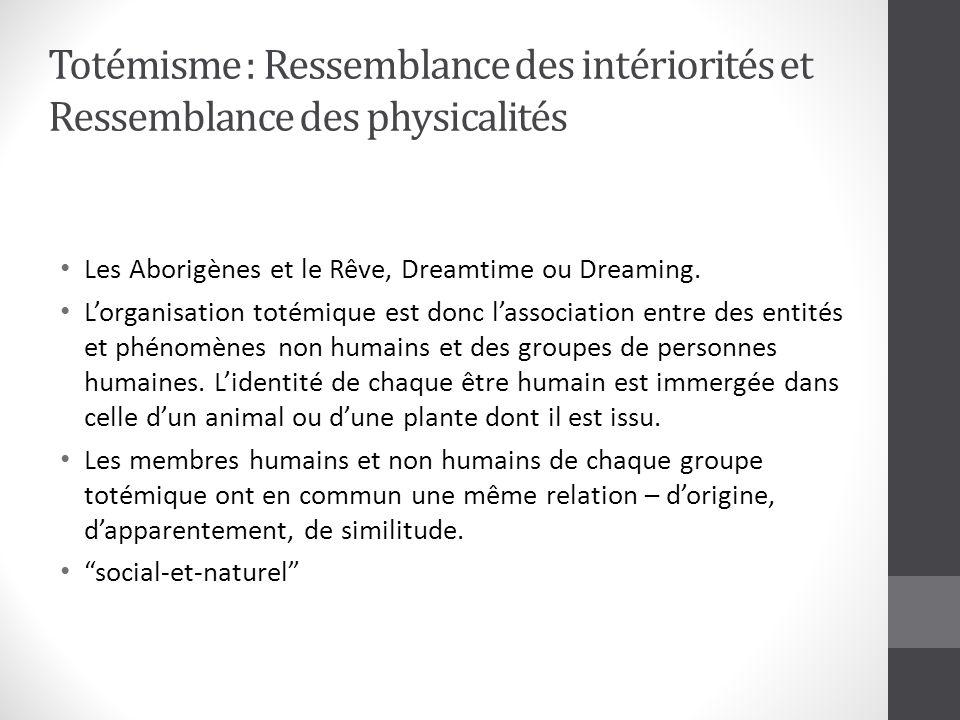 Totémisme : Ressemblance des intériorités et Ressemblance des physicalités