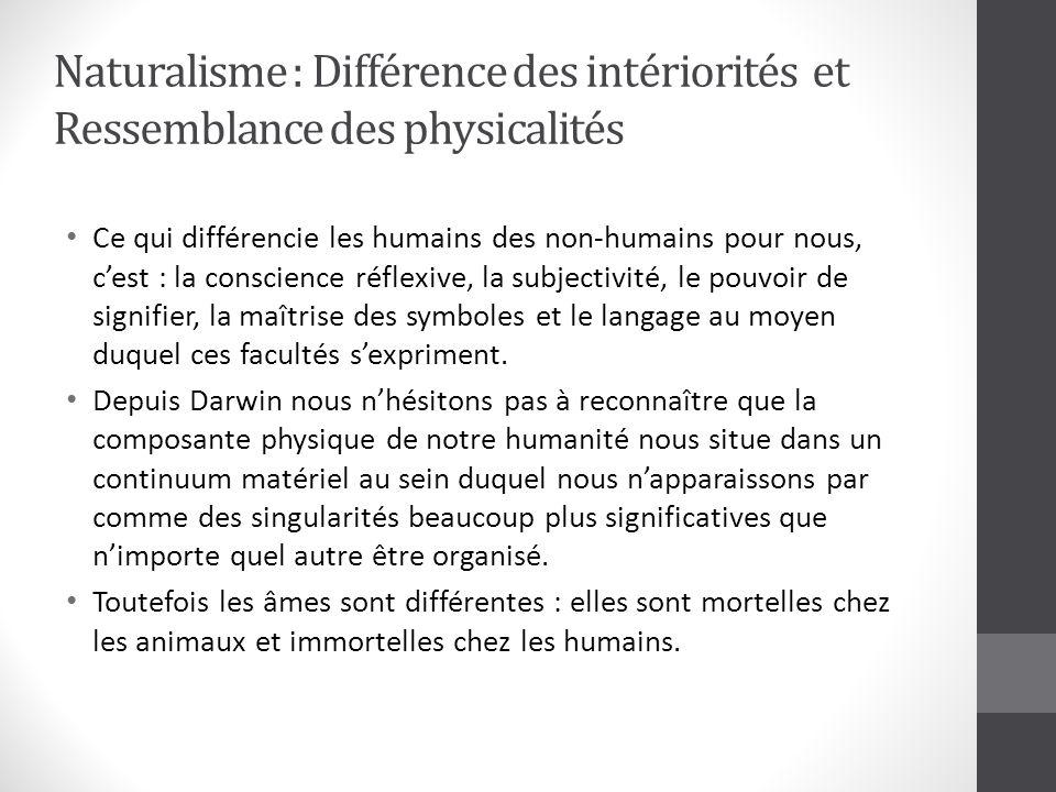 Naturalisme : Différence des intériorités et Ressemblance des physicalités