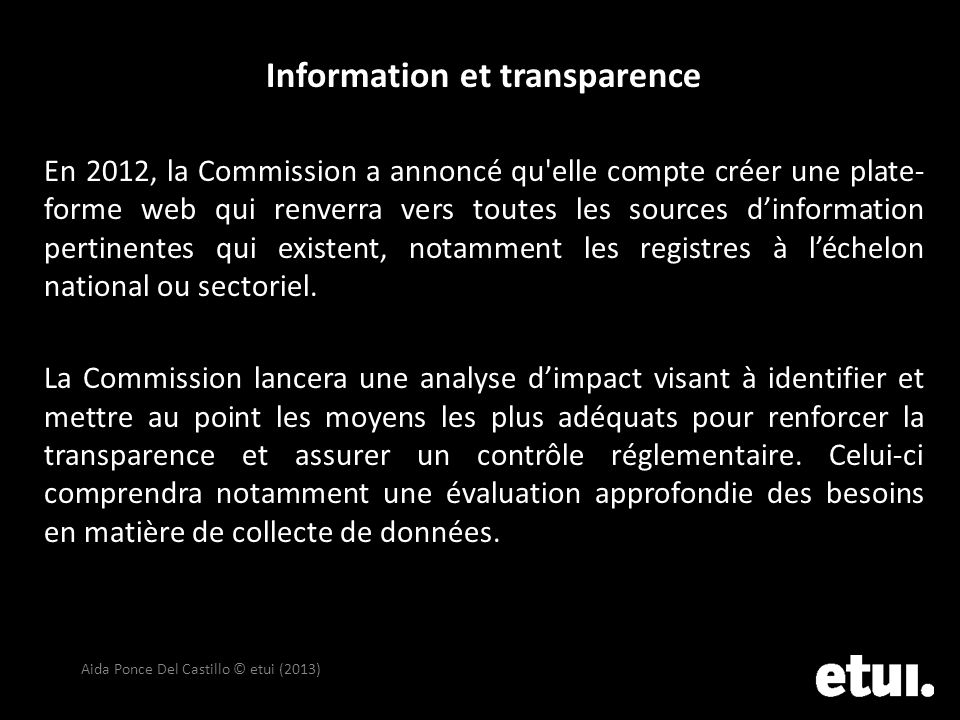 Information et transparence