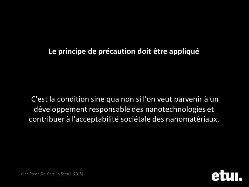 Le principe de précaution doit être appliqué C est la condition sine qua non si l on veut parvenir à un développement responsable des nanotechnologies et contribuer à l acceptabilité sociétale des nanomatériaux.