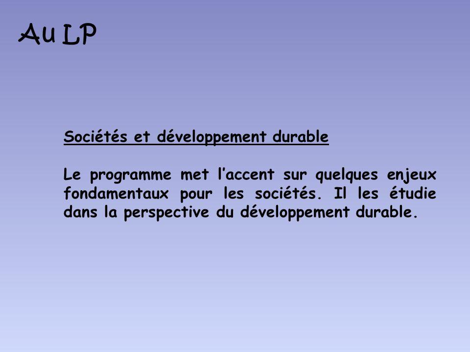 Au LP Sociétés et développement durable
