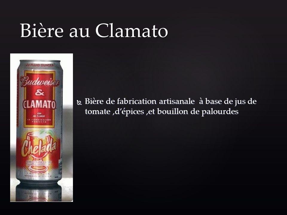 Bière au Clamato Bière de fabrication artisanale à base de jus de tomate ,d'épices ,et bouillon de palourdes.
