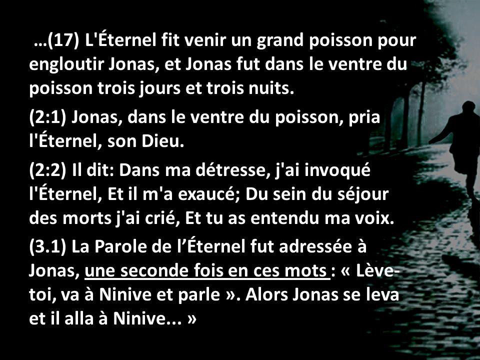 …(17) L Éternel fit venir un grand poisson pour engloutir Jonas, et Jonas fut dans le ventre du poisson trois jours et trois nuits.