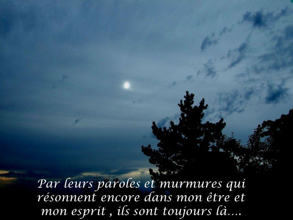 Par leurs paroles et murmures qui résonnent encore dans mon être et mon esprit , ils sont toujours là….