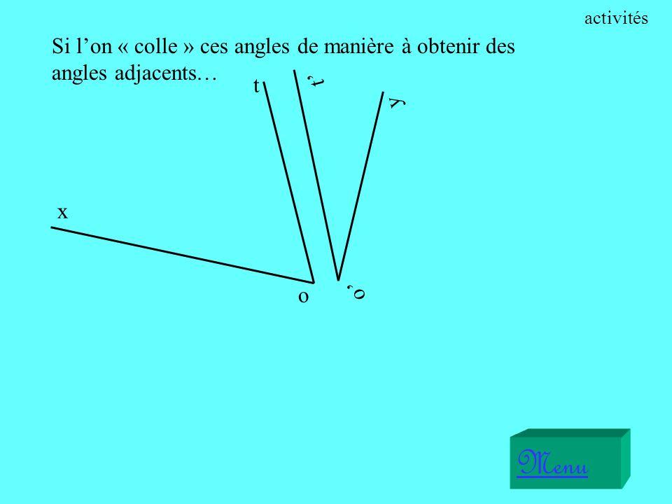 activités Si l'on « colle » ces angles de manière à obtenir des angles adjacents… o' y. t' x. o.