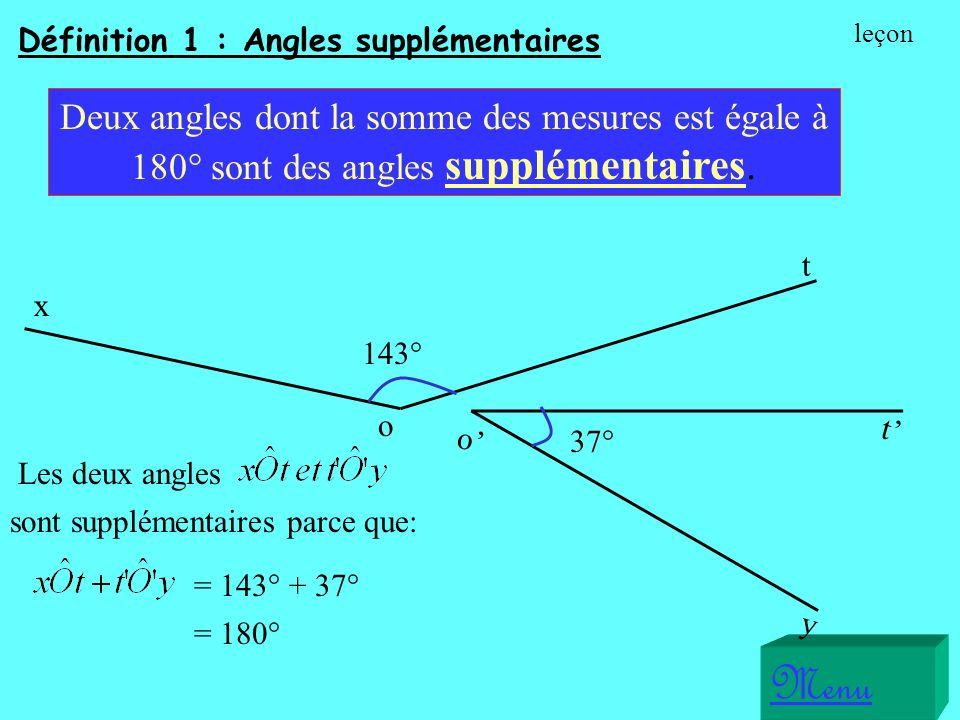 Définition 1 : Angles supplémentaires