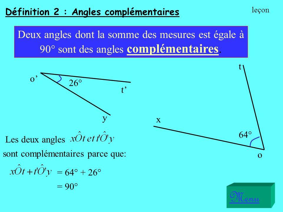 Définition 2 : Angles complémentaires