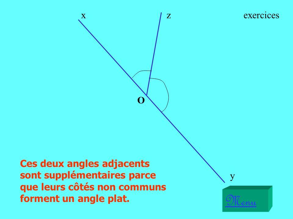 x z. exercices. O. Ces deux angles adjacents sont supplémentaires parce que leurs côtés non communs forment un angle plat.
