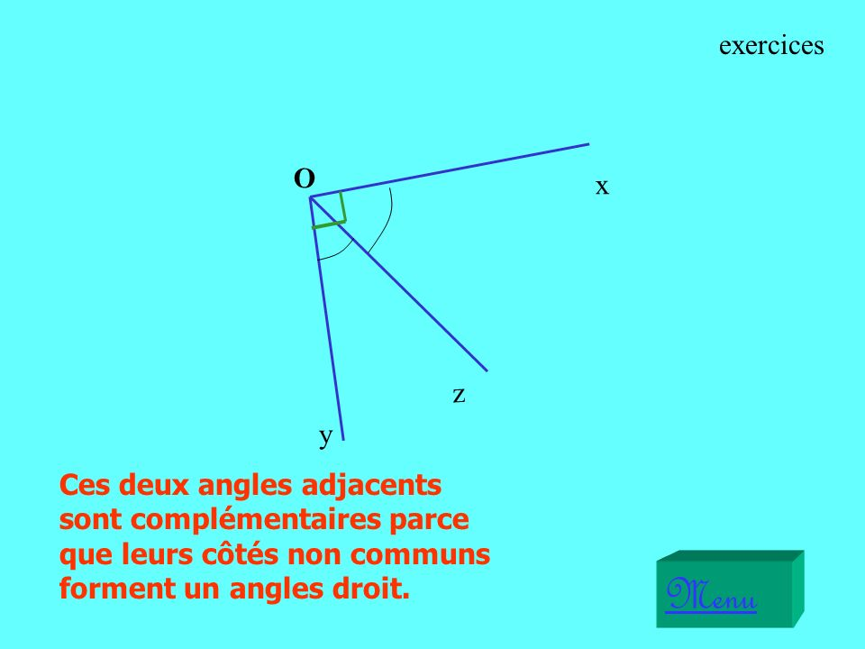 exercices O. x. z. y. Ces deux angles adjacents sont complémentaires parce que leurs côtés non communs forment un angles droit.