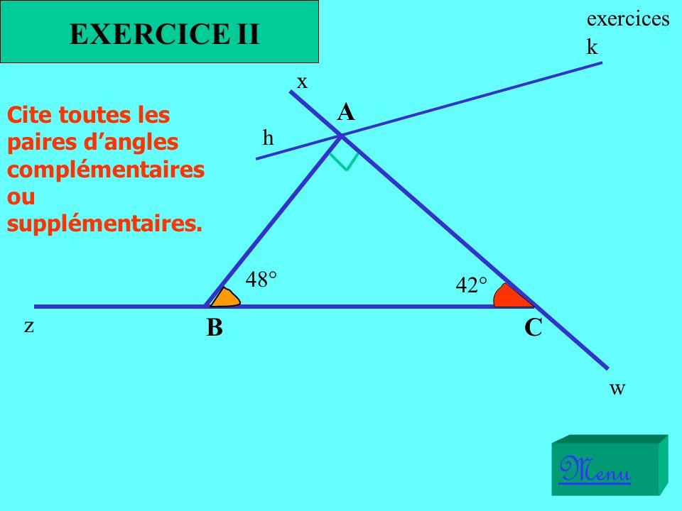 Menu EXERCICE II A B C exercices k x