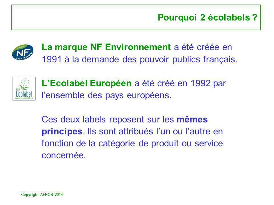 Pourquoi 2 écolabels La marque NF Environnement a été créée en. 1991 à la demande des pouvoir publics français.