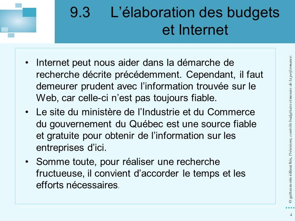 9.3 L'élaboration des budgets et Internet