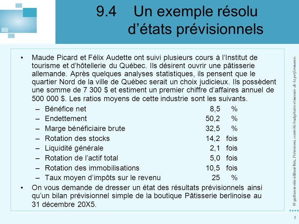 9.4 Un exemple résolu d'états prévisionnels