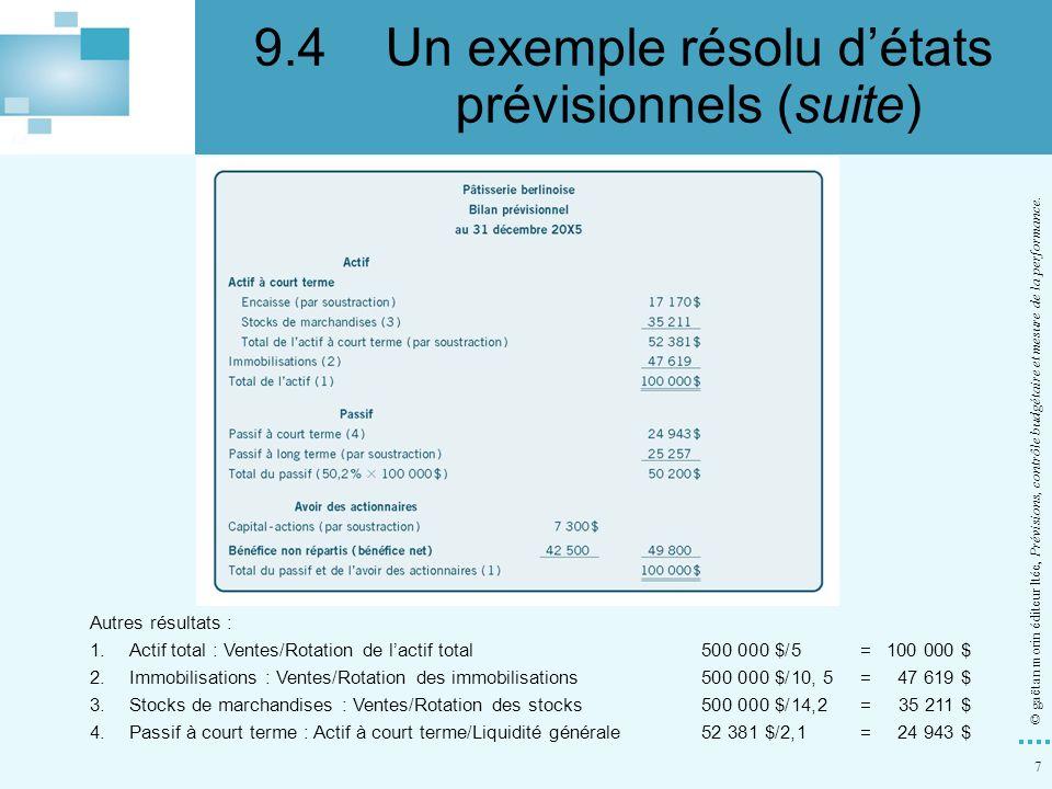 9.4 Un exemple résolu d'états prévisionnels (suite)