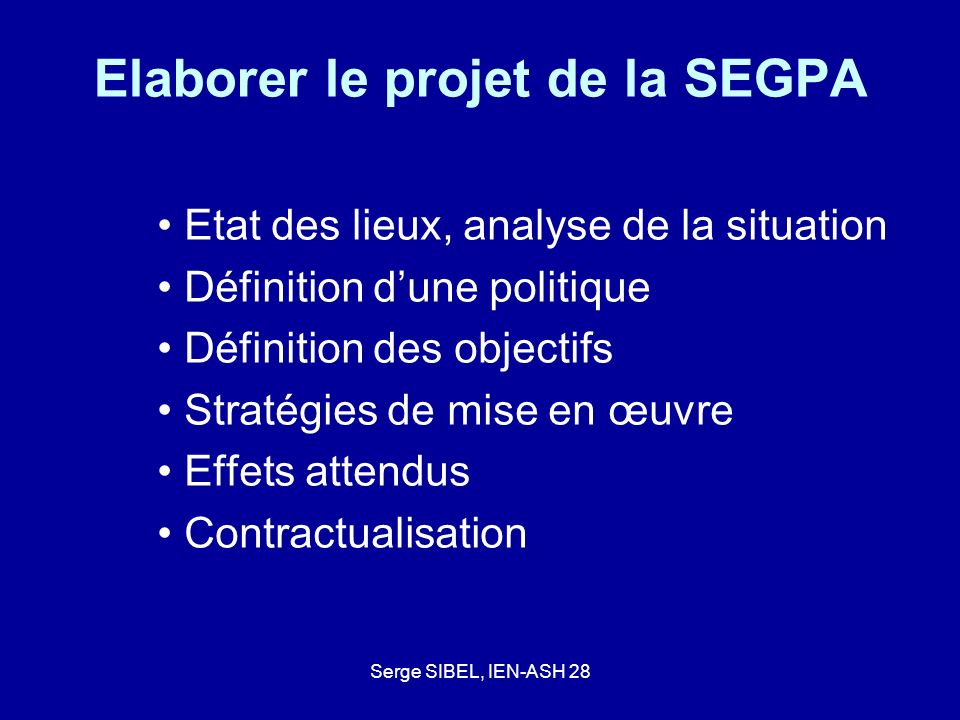 Elaborer le projet de la SEGPA