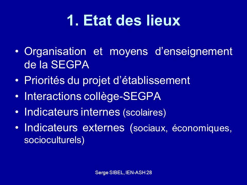 1. Etat des lieux Organisation et moyens d'enseignement de la SEGPA