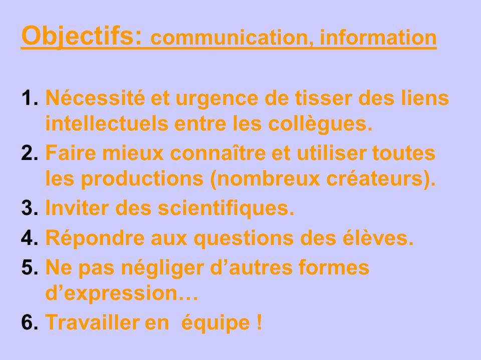 Objectifs: communication, information