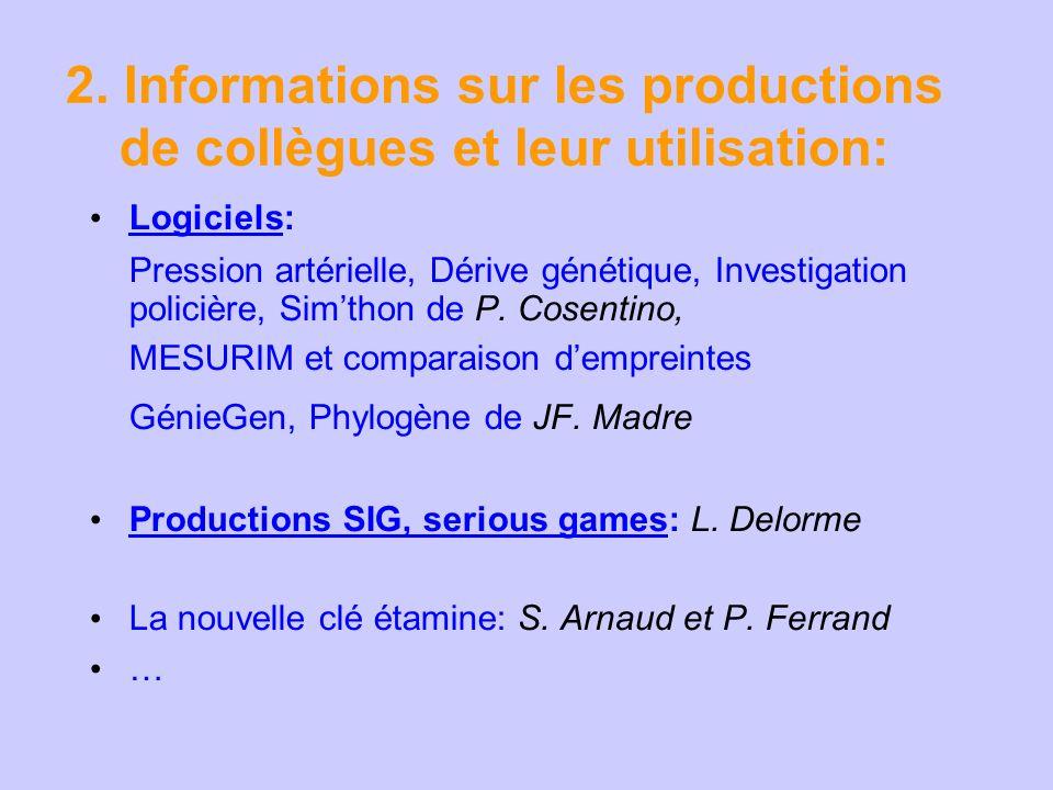 2. Informations sur les productions de collègues et leur utilisation: