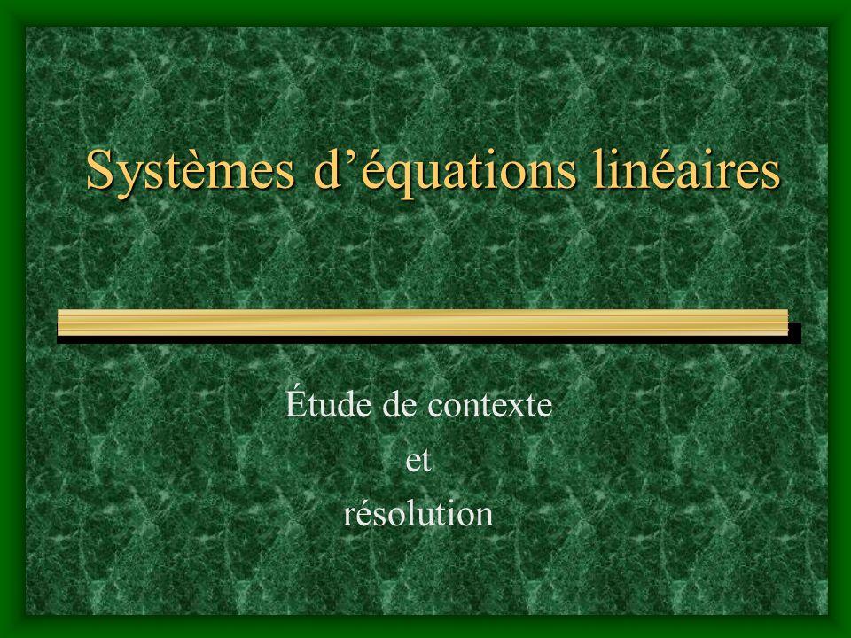 Systèmes d'équations linéaires