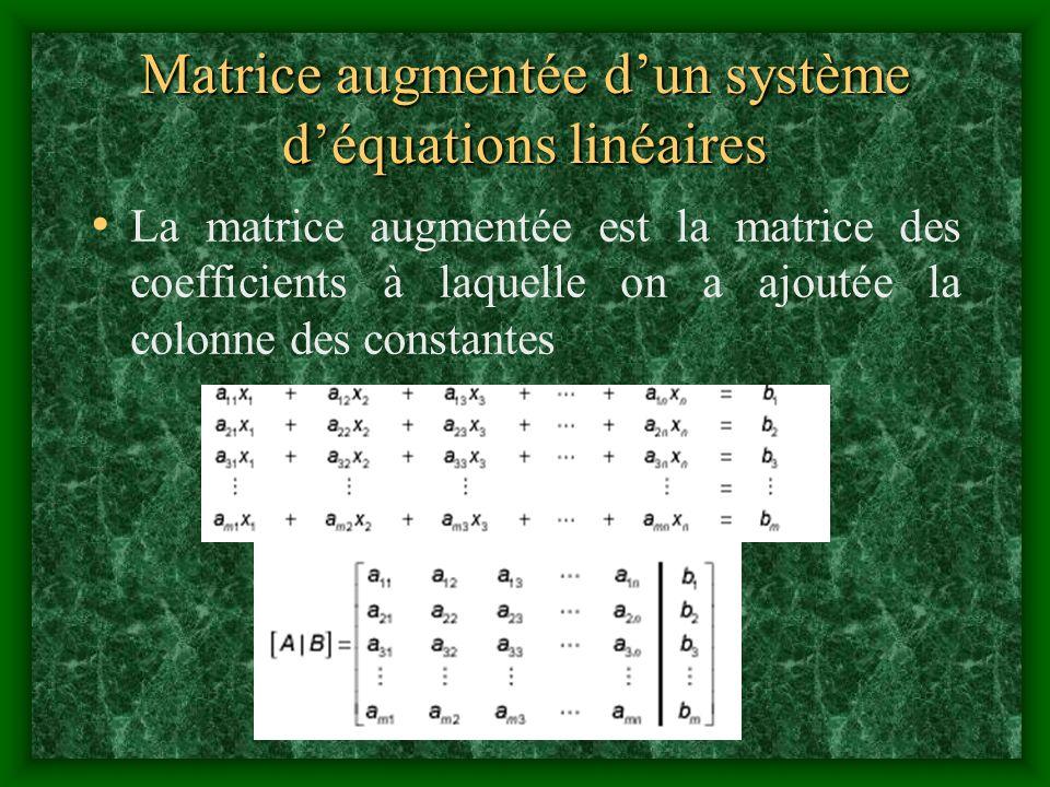 Matrice augmentée d'un système d'équations linéaires