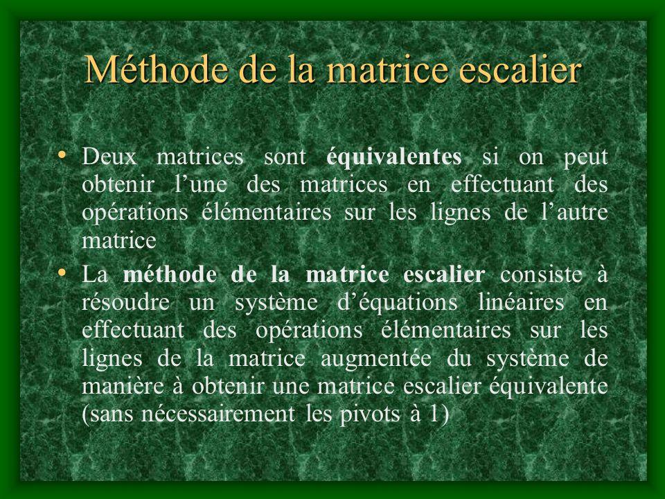 Méthode de la matrice escalier